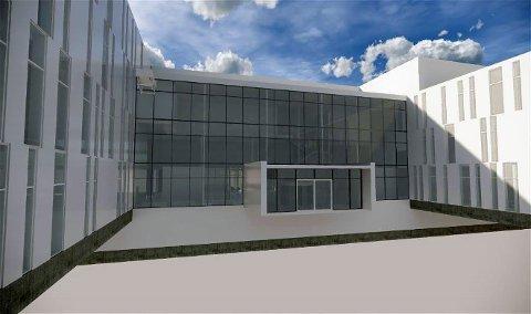Inngangspartiet til nye Hammerfest sykehus.