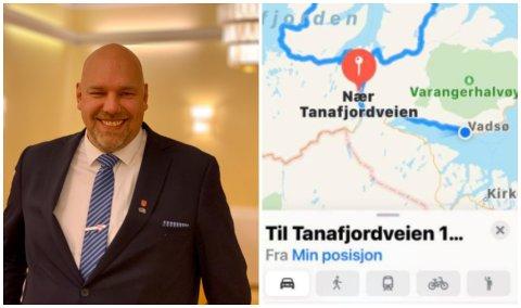 LATTERMILD: Hans-Jacob Bønå måtte le da han så forslaget til reisevei mellom Vadsø og hytta hans i Tana, som telefonen kom opp med.