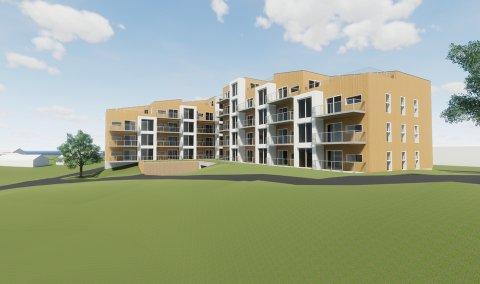 Slik er den nye boligblokka tenkt plassert på Bjørkelangen, med Kompveien rett på motsatt side.