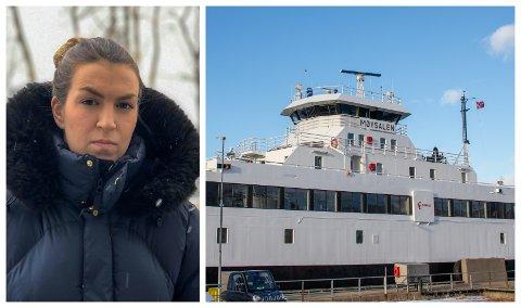 FRUSTRERT: Anna Martine Aaker Albrigtsen er særdeles lite fornøyd med at MF Møysalen ikke ville vente da hun skulle med sist-ferjen sist onsdag.