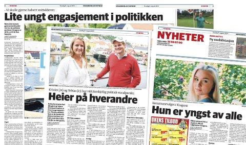UNGE: Noen av KVs artikler fra de siste ukene med fokus på unge kandidater på kommunevalglistene i Kragerø.