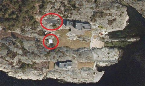 SKJÆRGÅRDSPERLE: Hytteeiendommen på Jesper ligger idyllisk til rett ved sjøen. Den øverste markeringen viser det kommunen mente var en ulovlig tennisbane, mens drivhuset er markert under.