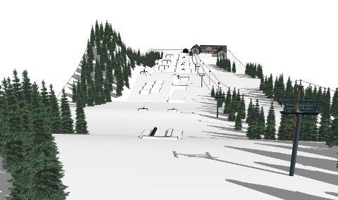 """BJØNNEPARKEN: Slik vil det se ut nå firmaet Shapecrew har bygget ferdig """"Bjønneparken"""" i Uvdal skisenter."""