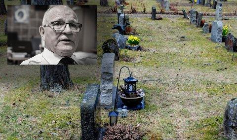 KLAR BESKJED: Helge Muggerud vil gjøre de trivelig for alle som besøker gravlunden på Gomsrud. Han mener alle som kan må bidra til den årlige dugnaden.