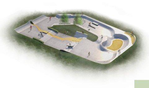 Planlagt: Den nye betongparken i Kongsberg er planlagt bak Vandrerhjemmet. Skatemiljøet i Kongsberg har vært med på planleggingen av hvordan den skal se ut.