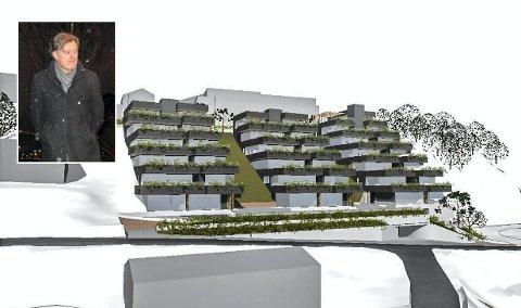 Én etasje ned: Utbygger Helge Hellebust (innfelt) må kutte én etasje fra bygg C (bygget til høyre på bildet) av Øvre Lianvei 21 for at boligprosjektet skal godkjennes.