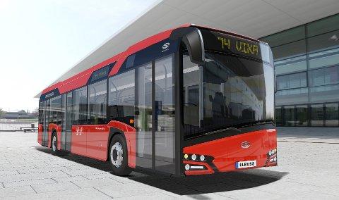 NYE ELBUSSER: 74-bussen skal være med på et to år langt prøveprosjekt. Fra høsten skal to av disse elbussene rulle på strekningen Mortensrud-Vika gjennom Bydel Nordstrand.  Illustrasjon: Unibuss/Solaris