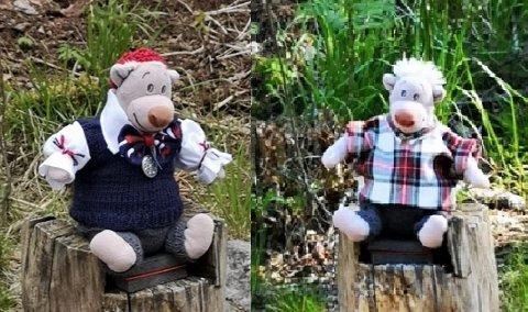 SAVNET: Mange savner Østmarka-bamsen Baloo. Her i to av de nyeste antrekkene sine.