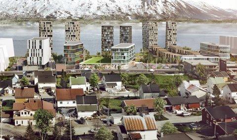 AVVIST: Byrådet varsler avslag for Bjørn Eiendoms planer om å bygge seks høyblokker, kontor- og næringsbygg samt lavere rekkehus på Bjørnstrand langs Stakkevollveien.