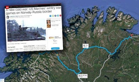 """CNN har vært på reportasje med Forsvaret i både Bardufoss og Kirkenes. På førstnevnte sted øver amerikanske soldater, men reportasjen gir inntrykk av at det skjer """"rett ved grensa til Russland"""". (Foto: Skjermdump / Google Maps)"""