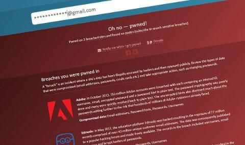 SJEKK DIN EPOST: Sikkerhetssiden haveibeenpwnd.com har fått tak i den største lekkede e-postoversikten noen gang. Foto: Nettavisen/Skjermdump