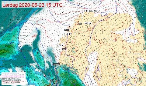 LOVER BRA: Slik ser prognosene ut for Nord-Norge i 17-tiden førstkommende lørdag.