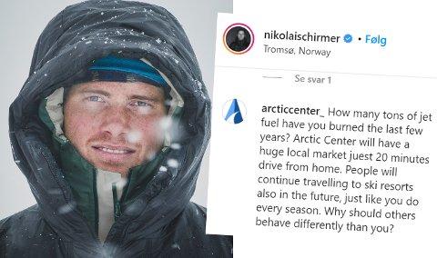 SIER NEI: Skikjører Nikolai Schirmer fra Tromsø mener planene om Arctic Center i Håkøybotn må stoppes slik de foreligger nå. Men han ønsker et alpinanlegg til Tromsø velkommen. I en Instagram-tråd svarer Arctic Center på Schirmers innlegg med å spørre ham hvor mye utslipp han har bidratt med de seinere årene.