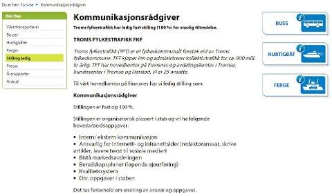 Her lyser Troms fylkestrafikk FK - et selskap som skal avvikles - ut ledig stilling.