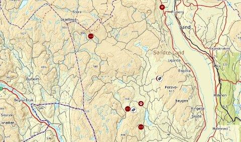 Rovbase: Kartet er hentet ut av rovbase.no og de tre røde markeringene nederst på kartet viser de siste sporfunnene på Veståsen.