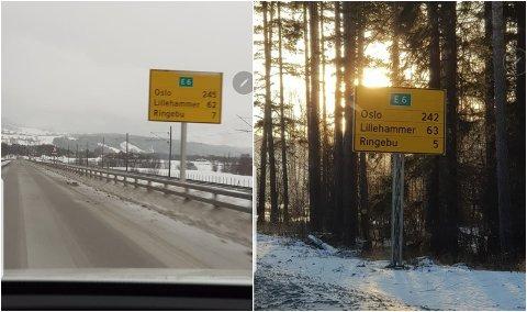 Skiltet til venstre står tre kilometer nord for skiltet til høyre.