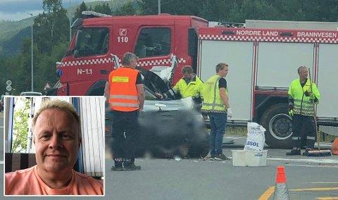 TRAFIKKFARLIG: Mandag skjedde nok ei ulykke ved krysset Jevnakervegen - Odnesvegen fv. 33 på Dokka. Stein Høitomt mener noe nå må gjøres.