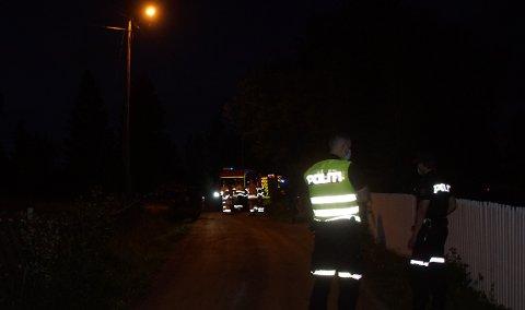 HAVNET PÅ SIDEN: Alle nødetater rykket ut da meldingen om avkjøring i Svendsrudvegen på Jaren ble meldt inn.