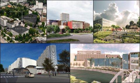 FEM FORSLAG: Dette er de fem aktuelle utbggernes forslag til nytt kulturhus på Gjøvik.