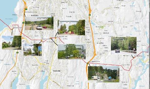 SYV BOMMER: Her finner du de syv nye bommene på grensa mellom Follo og Oslo.