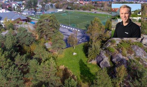HASTER: Stavern Vel er nær ved å realisere en treningspark på Kaken. Leder Håvard Wannebo (innfelt) forteller imidlertid at de risikerer å måtte utsette prosjektet om de ikke klarer å fremskaffe 60.000,- i løpet av en drøy uke.
