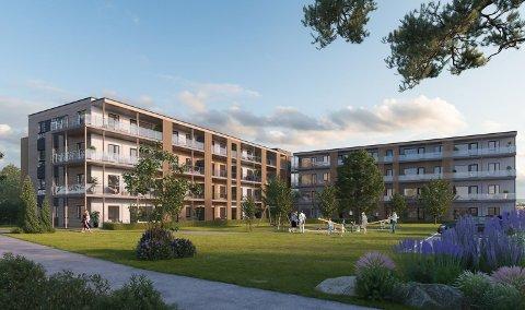 BLOKKER: Første byggetrinn av Kildetunet i Løten sentrum skal stå klart i februar 2021.