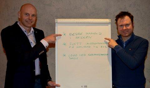 HAR OPPSKRIFTEN KLAR: Høyres Joakim Ekseth (til venstre) og Yngve Sætre har oppskriften klar for hva som må gjøres i elverumsskolen.