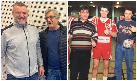 MØTTES I TERNINGEN: Sveko Dzemila spilte på samme lag som Zagrebs hovedtrener Ivica Obrvan i 1987. I 1996 møttes de i forbindelse med en oppkjøringskamper til OL i Gruehallen. Og i 2021 kunne de to tidligere lagkameratene hilse hjertelig på hverandre i forbindelse med CL-kampen mellom Elverum og Zagreb.