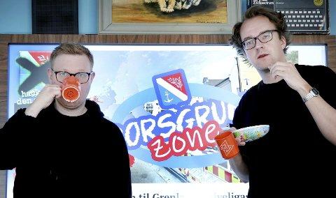 LAGET PÅSKEKRIM: Redaktørene i nettavisen kode24.no Jørgen Jacobsen og Ole Petter Baugerød Stokke har laget et spill hvor du skal redde Porsgrunn komunne fra en hacker som truer med å lekke sensitive e-poster.