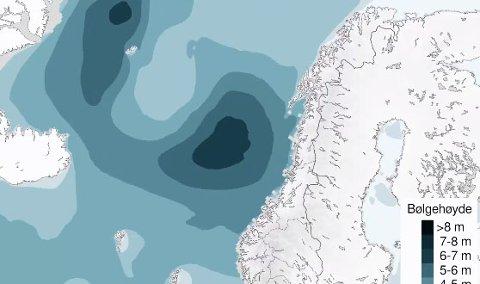 Venter bølgehøyder på opp mot syv meter langs kysten de neste dagene.