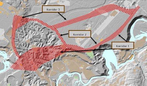 Kartet viser hvor de tre aktuelle trasékorridorene går. Flystripa er den lange grå linja mellom korridor 3 og korridor 1. Hvilken trase det blir er ikke bestemt. Illustrasjon: Statens vegvesen