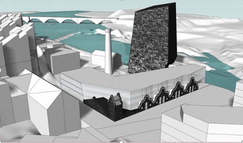 KRITISK : Kristian Tveter gir uttrykk for stor misnøye med planene for Hønefoss i dette innlegget. Tegning: Snøhetta