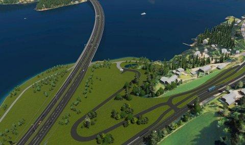 PÅ TVERS: Den nye firefeltsveien vil krysse over dagens campingplass.