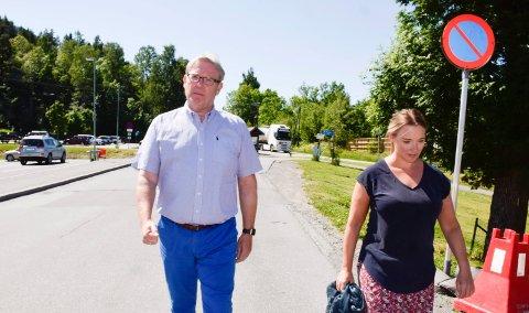 STATLIG ANDEL: Tom Olsen (Ap) og Nina Lauritzsen (Frp) vil ha gjort noe med den statlige andelen i veiprosjektet.