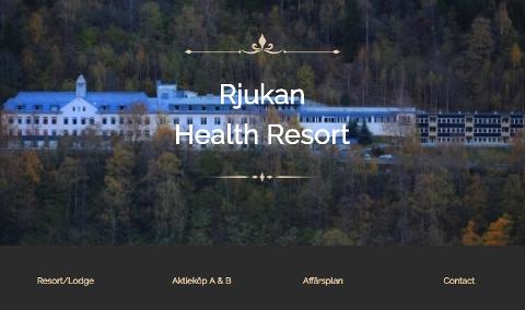NETTSIDEN: Et bilde av Rjukan sykehus møter deg når du går inn på rjukanhealthresort.com, som er den nye websiden til Mats Jönsson og hans selskap Rjukan Health Resort AS.