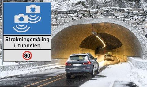 VERSTINGTUNNEL: Det er skiltet med strekningsmåling på utsiden av Mælefjelltunnelen mellom Hjartdal og Seljord, men likevel håver staten inn millioner i bøter fra bilistene.