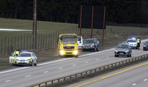 HER: Ulykken skjedde på E6 ved Minnesund i Eidsvoll. FOTO: REMI PRESSTUN