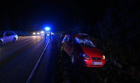 SMELL: Bildene av bilen viser at det har vært et kraftig sammenstøt mellom personbilen og elgen.