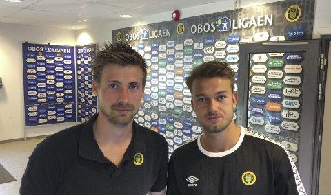 SUPERDUO: Nicolay Solberg (t.v.) og Kristoffer Normann Hansen satte opp hverandres scoringer i 2-2-kampen mot Sandnes Ulf – men smilene uteble.