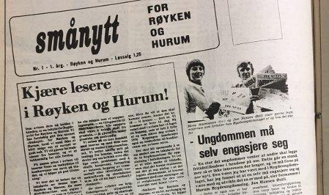 NUMMER 1: Den aller første forsiden i 1976, da het avisen «Smånytt - for Røyken og Hurum».