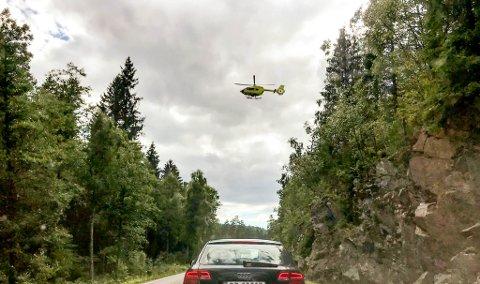 SYKKELULYKKE: Luftambulansen rykket ut til ulykken.