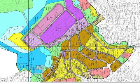 Utsnitt av foreslått plankart for den nye sentrumsplanen. (Kart: Strand kommune)