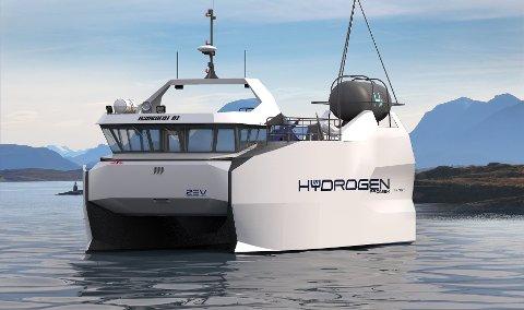 Slik kan en hydrogendrevet arbeidsbåt fra Promek bli seende ut.