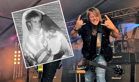 I DAG: Tommy Løken-Elstad på scenen med Plumbo, og innfelt som 19-åring med datteren Carina på fanget.