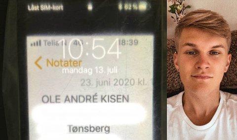 FUNNET I BIL: Telefonen som ble funnet med Ole Andrés personinformasjon skal overleveres til politiet. Foto: Privat