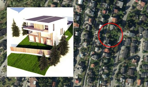 NEI: Kommunen mener tomannsboligen er plassert for nært vegen, og sier nei til å bygge.