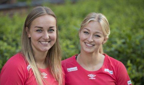 GIR SEG: Hanna Bredal Oftedal (t.v.) legger opp på grunn av skader. Her sammen med storesøster Stine. som snart skal i aksjon under VM i Japan Foto: NTB scanpix