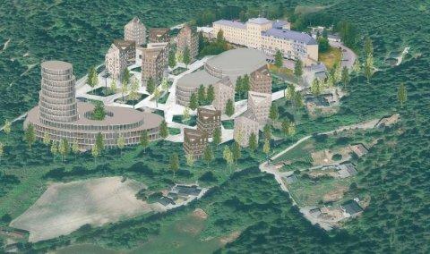 VISJONEN: Skisse av en framtidig studentlandsby på Glittre som eierne av stedet la fram i formannskapet i november i fjor.