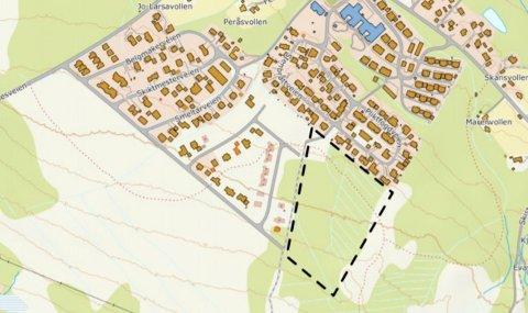 NY: I det stiplede området i kartet er utbygging av Gjøsvika etappe fem. Kilde: Røros kommune