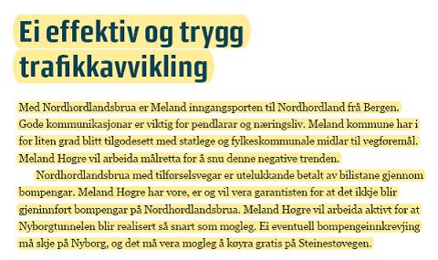 Faksimile fra Meland Høyre sitt partiprogram 2007.